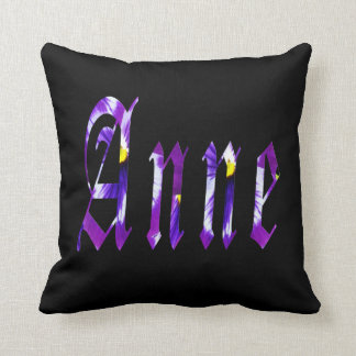 Anne, Name, Logo, Black Throw Cushion