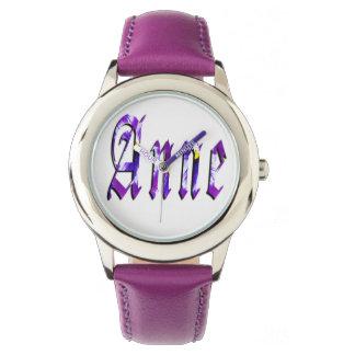 Anne, Name, Logo,  Girls Purple Leather Watch