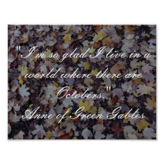 Anne of Green Gables October Quote Poster