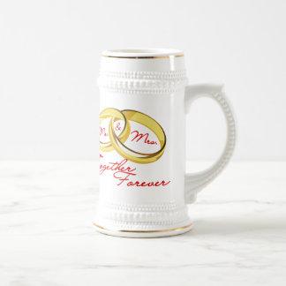Anneaux de mariage de M. et de Mme Together Chope À Bière