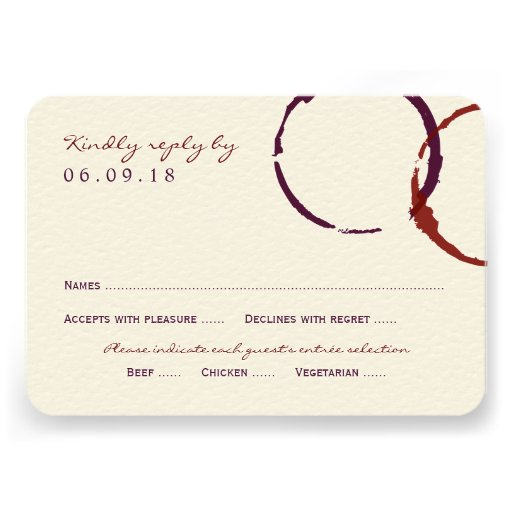 Anneaux de tache de vin de la carte- de réponse de faire-part personnalisé
