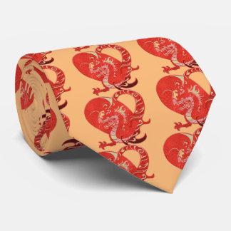 Année chinoise de Valentine de coeur de dragon du Cravate