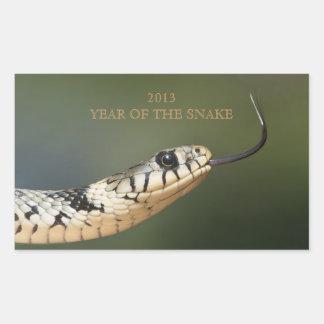 Année de la photo de serpent de coutume du serpent sticker rectangulaire