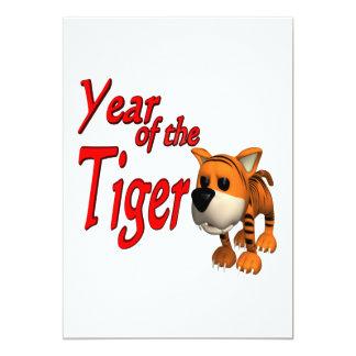 Année du tigre carton d'invitation  12,7 cm x 17,78 cm