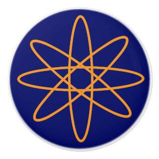 Années '50 astucieuses - atome orange bouton de porte en céramique