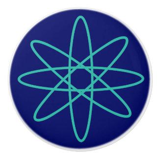 Années '50 astucieuses - atome vert bouton de porte en céramique
