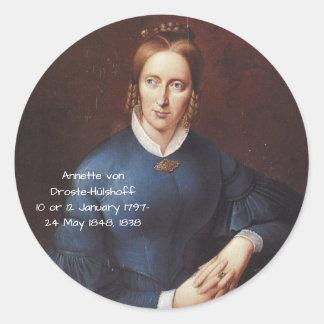 Annette von Droste-Hulshoff 1838 Classic Round Sticker