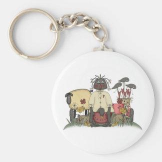 Annie Doll Sheep & Crows Basic Round Button Keychain