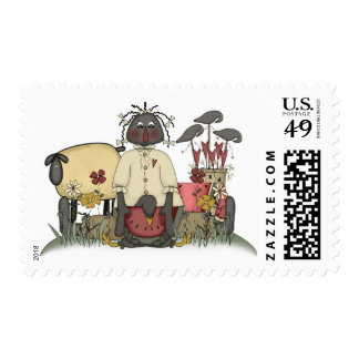 Annie Doll Sheep & Crows Postage Stamp