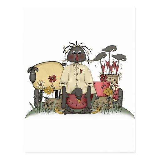 Annie Doll Sheep & Crows Post Card