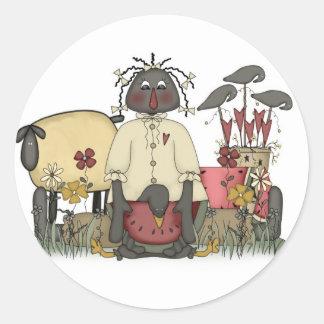 Annie Doll Sheep & Crows Round Sticker