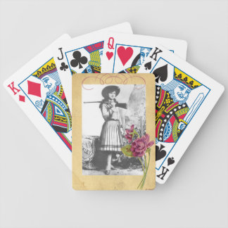 Annie Oakley Photograph Vintage Pink Flower Bicycle Playing Cards