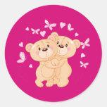 Annimated Valentine's Day Teddy Bears Round Sticker