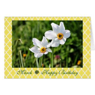 Anniversaire blanc renversant de fleur de mars carte de vœux