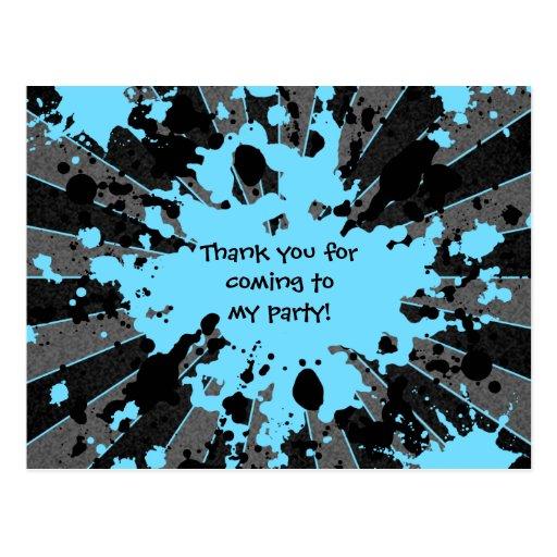 Anniversaire bleu génial de paintball d'éclaboussu carte postale