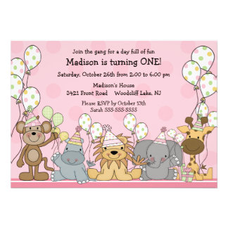 Anniversaire d animaux de safari de filles d amuse cartons d'invitation