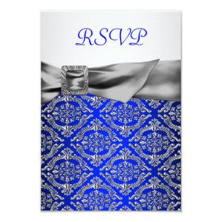 Anniversaire d'argent de damassé d'argent de bleu carton d'invitation 8,89 cm x 12,70 cm