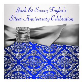 Anniversaire d'argent de damassé d'argent de bleu carton d'invitation  13,33 cm
