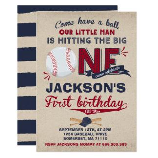 Anniversaire de base-ball d'invitation carton d'invitation  12,7 cm x 17,78 cm