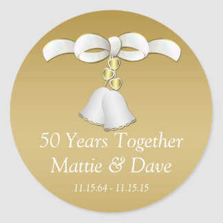 Anniversaire de Bells de mariage d'or blanc Sticker Rond