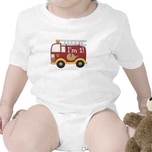 Anniversaire de enfant mignon de camion de pompier bodies