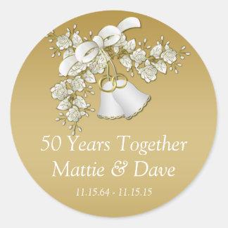 Anniversaire de fleurs de Bells de mariage d'or Sticker Rond