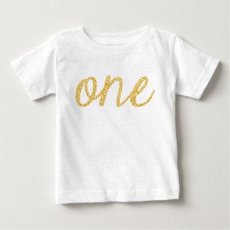 Anniversaire de manuscrit de scintillement de Faux T-shirt Pour Bébé