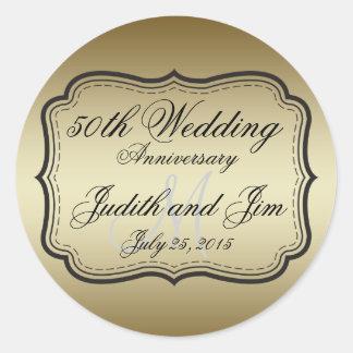Anniversaire de mariage d or cinquantième adhésif rond