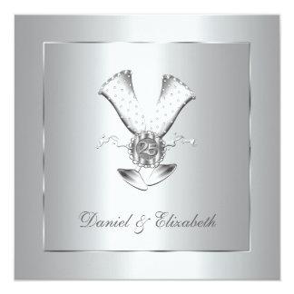 Anniversaire de mariage en verre de Champagne Carton D'invitation 13,33 Cm