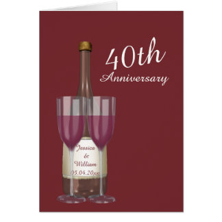 Anniversaire de mariage personnalisé de rubis carte de vœux
