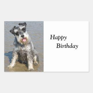 Anniversaire de photo miniature de chien de Schnau Sticker Rectangulaire