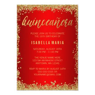 Anniversaire de Quinceanera d'or de scintillement Carton D'invitation 12,7 Cm X 17,78 Cm