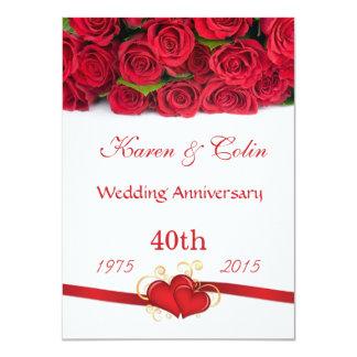 Anniversaire de roses rouges et de mariage de carton d'invitation  11,43 cm x 15,87 cm