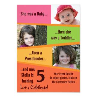 Anniversaire d'étape importante - filles carton d'invitation  11,43 cm x 15,87 cm