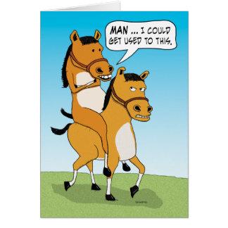 Anniversaire drôle de cheval d'équitation carte de vœux