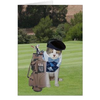 Anniversaire drôle de golfeur de chat carte de vœux