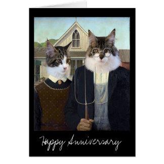 Anniversaire drôle gothique américain de chat carte de vœux