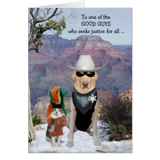 Anniversaire drôle occidental de chat et de chien carte de vœux