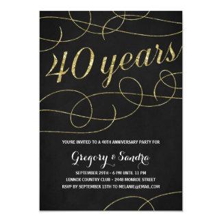Anniversaire élégant de feuille d'or quarantième carton d'invitation  12,7 cm x 17,78 cm