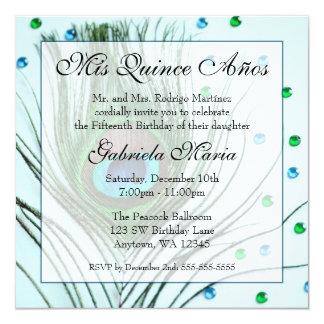 Anniversaire fascinant turquoise de Quinceanera de Carton D'invitation 13,33 Cm