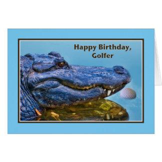 Anniversaire, golfeur, alligator et boule de golf carte de vœux