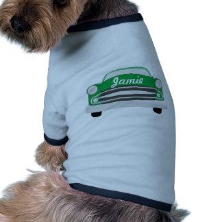 Anniversaire le rétro du garçon moyen vert de t-shirts pour animaux domestiques