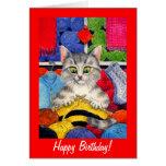 Anniversaire mignon de chat de tricot ou toute car