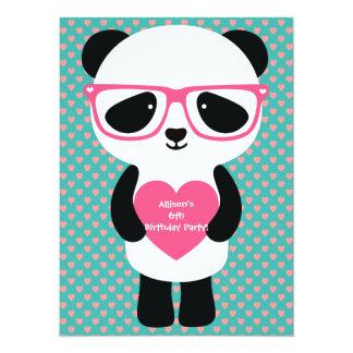 Anniversaire mignon de panda carton d'invitation  13,97 cm x 19,05 cm