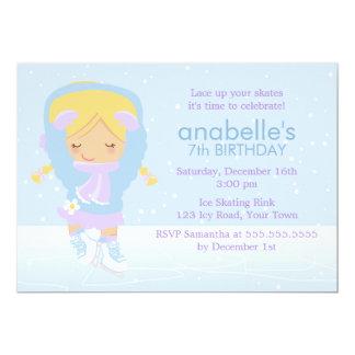Anniversaire mignon de patineur artistique carton d'invitation  12,7 cm x 17,78 cm