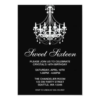 Anniversaire noir et blanc de sweet sixteen de cartons d'invitation