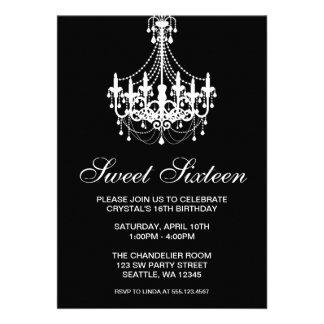 Anniversaire noir et blanc de sweet sixteen de lus cartons d'invitation