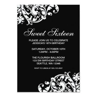Anniversaire noir et blanc du bonbon 16 à Flourish Carton D'invitation 12,7 Cm X 17,78 Cm