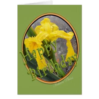 Anniversaire-personnaliser d'iris jaune carte