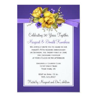 Anniversaire pourpre de violettes cinquantième de carton d'invitation  12,7 cm x 17,78 cm
